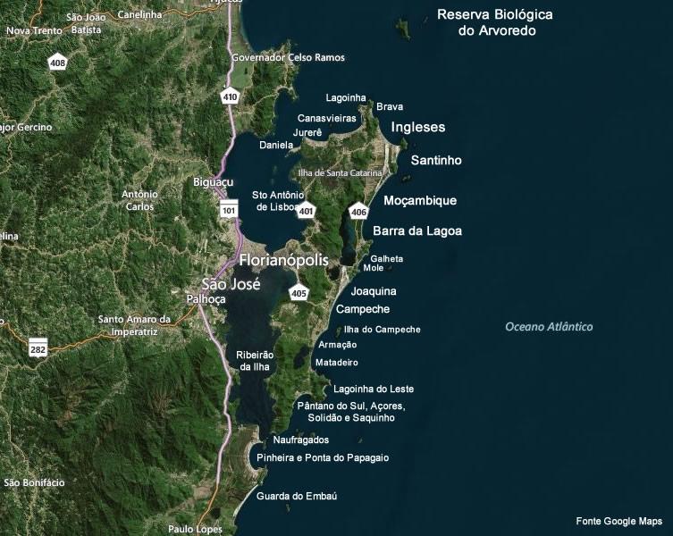 Principais Praias da Ilha de Santa Catarina - Florianópolis