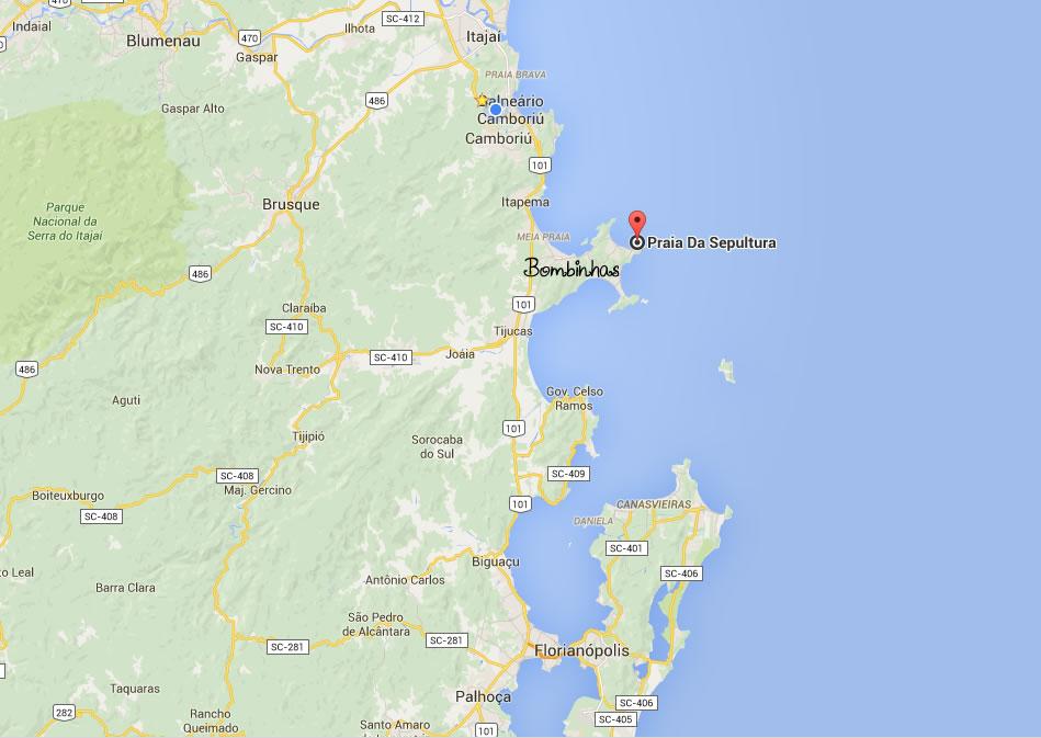 Mapa da Praia da Sepultura - Bombinhas - Santa Catarina